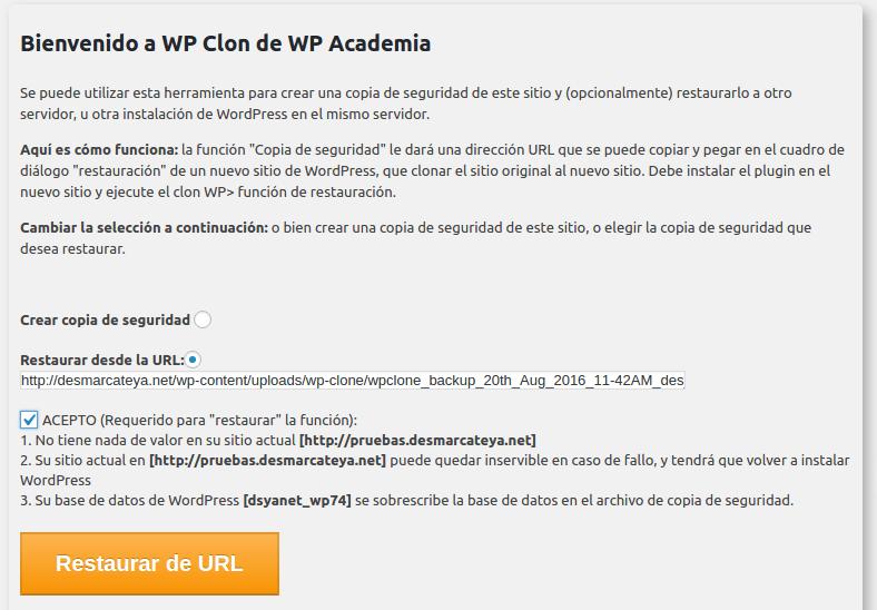 wordpress restauración de copia en servidor nuevo