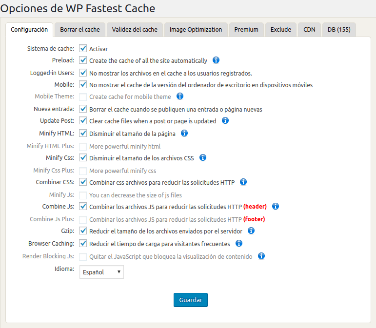 WP Fastest Cache Settings ‹ desmarcateya.com — WordPress