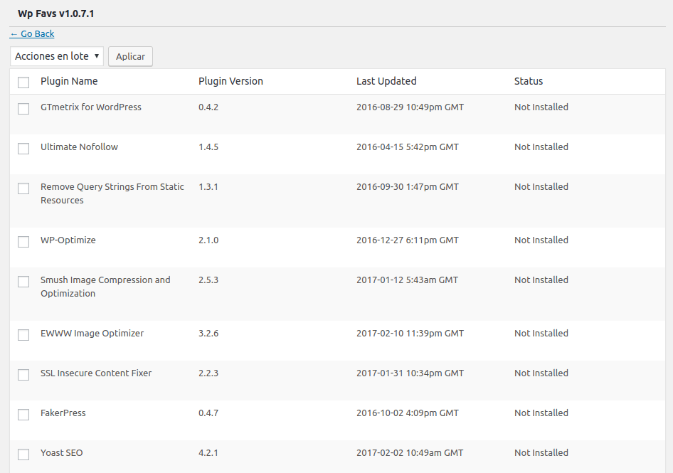Wp Favs instalando plugins para WordPress de desmarcate YA