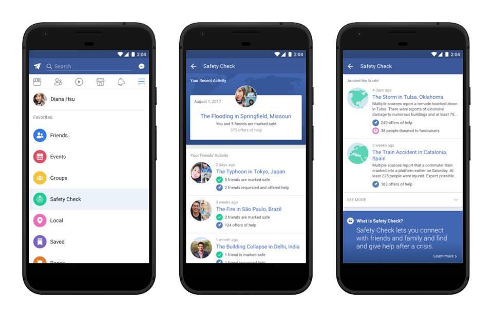 safety check Una idea de Facebook como poco interesante y permanente.